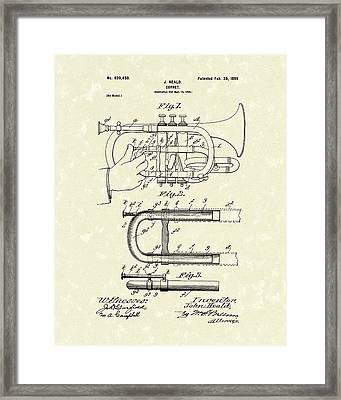 Cornet 1899 Patent Art Framed Print by Prior Art Design