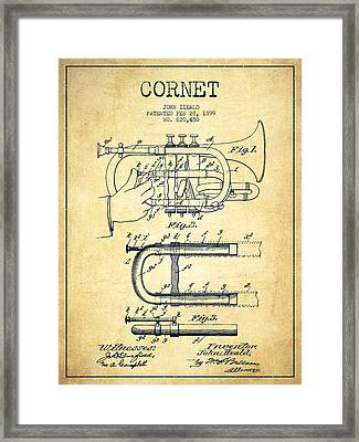 Cornet Patent Drawing From 1899 - Vintage Framed Print by Aged Pixel