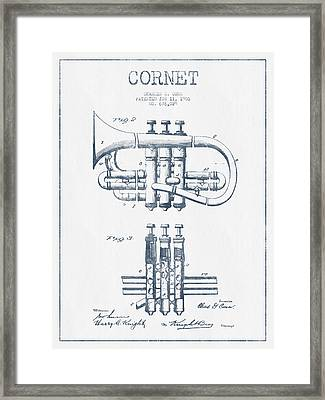 Cornet Patent Drawing From 1901 - Blue Ink Framed Print by Aged Pixel