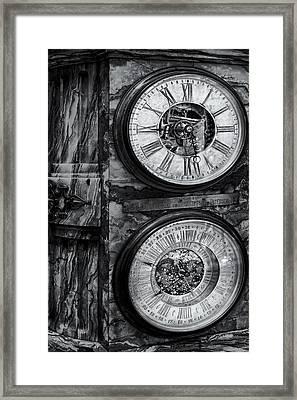 Cornu Clock Bw Framed Print by Susan Candelario
