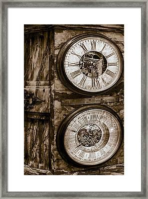 Cornu Clock In Sepia Framed Print by Susan Candelario