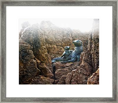 Corona Del Mar Seals Statue Framed Print by Gregory Dyer