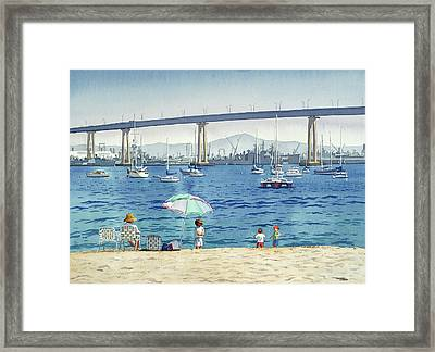 Coronado Beach And Navy Ships Framed Print by Mary Helmreich