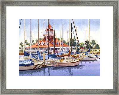 Coronado Boathouse Framed Print by Mary Helmreich