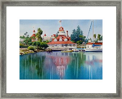 Coronado Boathouse Reflected Framed Print by Mary Helmreich
