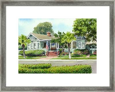 Coronado Craftsman House Framed Print by Mary Helmreich