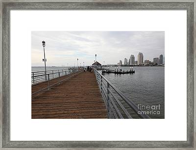Coronado Pier Overlooking The San Diego Skyline 5d24353 Framed Print by Wingsdomain Art and Photography