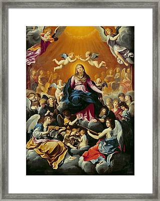 Coronation Of The Virgin Oil On Canvas Framed Print by Guido Reni