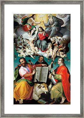 Coronation Of The Virgin With Saints Luke Dominic And John The Evangelist Framed Print by Bartolomeo Passarotti