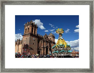 Corpus Christi Festival In Cusco Framed Print by James Brunker