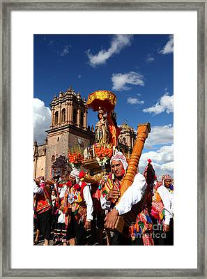 Corpus Christi Parade In Cusco Framed Print by James Brunker