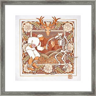 Corrido Del Venado Y Coyote En La Frontera Framed Print by Ruth Hooper