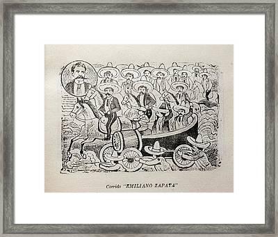 Corrido Emiliano Zapata, Mexican Framed Print by Everett