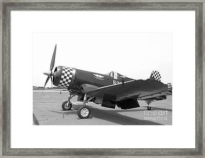 Corsair Fighter In Black And White Framed Print by M K  Miller