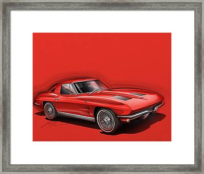 Corvette Sting Ray 1963 Red Framed Print by Etienne Carignan