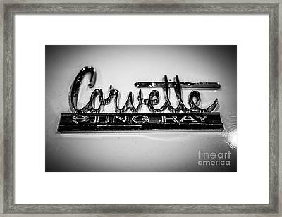 Corvette Sting Ray Emblem Framed Print by Paul Velgos