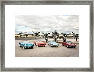 Corvettes And B17 Bomber Framed Print by Jill Reger