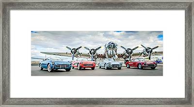 Corvettes With B17 Bomber Framed Print by Jill Reger