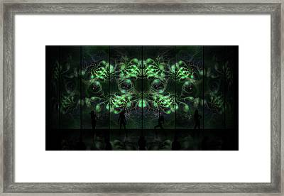 Cosmic Alien Vixens Green Framed Print by Shawn Dall