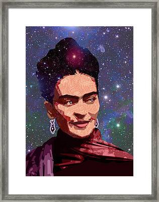 Cosmic Frida Framed Print by Douglas Simonson
