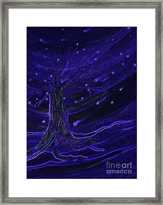 Cosmic Tree Blue Framed Print by First Star Art