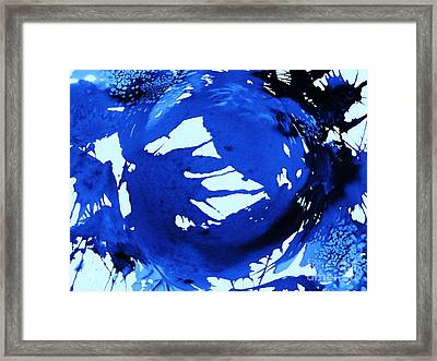 Cosmos In Blue Abstract Framed Print by Ellen Levinson