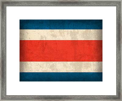 Costa Rica Flag Vintage Distressed Finish Framed Print by Design Turnpike