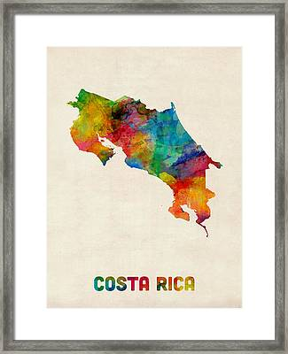 Costa Rica Watercolor Map Framed Print by Michael Tompsett