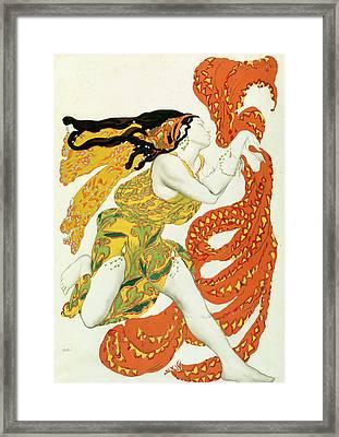 Costume Design For A Bacchante In Narcisse By Tcherepnin Framed Print by Leon Bakst