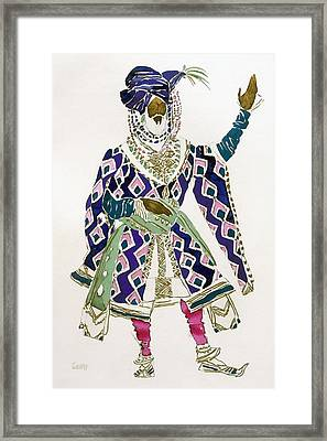 Costume Design For A Sultan Framed Print by Leon Bakst