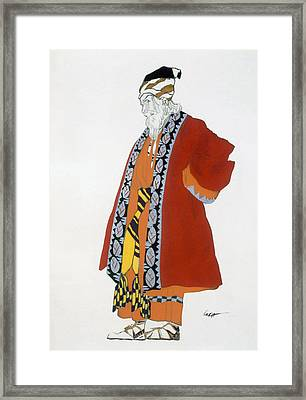 Costume Design For An Old Man In A Red Framed Print by Leon Bakst