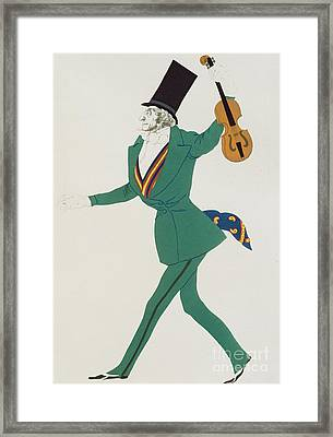 Costume Design For Paganini In The Enchanted Night Framed Print by Leon Bakst