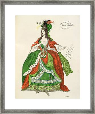Costume For A Female Courtier Framed Print by Leon Bakst
