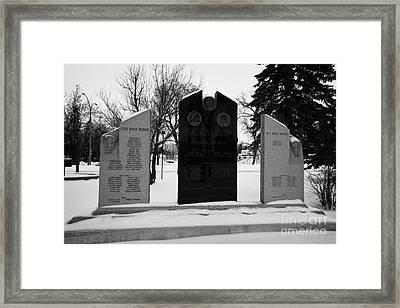 cote keeseekoose and key first nations war memorials in Kamsack Saskatchewan Canada Framed Print by Joe Fox