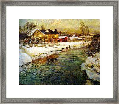 Cottage By A Canal In The Snow Framed Print by Celestial Images
