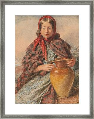 Cottage Girl Seated With A Pitcher Framed Print by William Henry Hunt