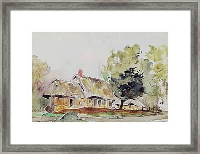 Cottage Under Large Trees In Summer Framed Print by Ferdinand Victor Eugene Delacroix