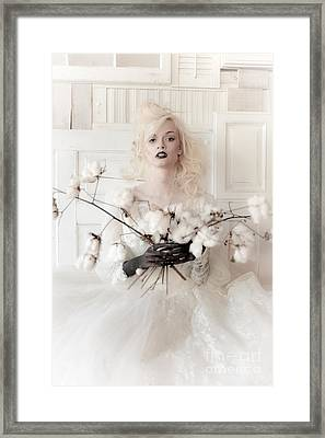 White Cotton Bouquet Framed Print by Jt PhotoDesign