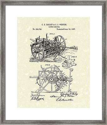 Cotton Chopper 1887 Patent Art Framed Print by Prior Art Design