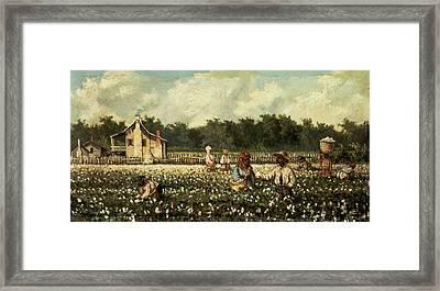 Cotton Field, Mississippi Oil On Panel Framed Print by William Aiken Walker