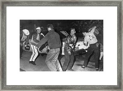 Cotton Owens Pit Stop Framed Print by Underwood Archives