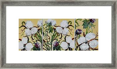 Cotton Triptych Framed Print by Eloise Schneider
