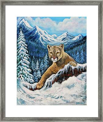 Cougar Sedona Red Rocks  Framed Print by Bob and Nadine Johnston