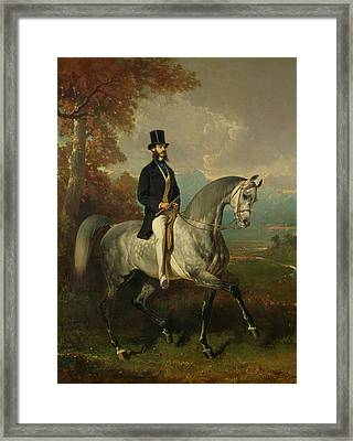 Count Alfred De Montgomery 1810-91 1850-60 Oil On Canvas Framed Print by Alfred Dedreux