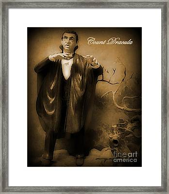 Count Dracula In Sepia Framed Print by John Malone