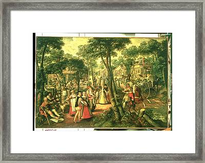 Country Celebration, 1563 Oil On Canvas Framed Print by Joachim Beuckelaer or Bueckelaer