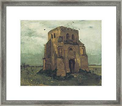 Country Churchyard And Old Church Tower Framed Print by Vincent Van Gogh