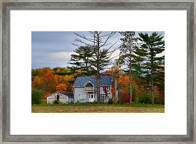 Country Cottage In Autumn Framed Print by Julie Dant