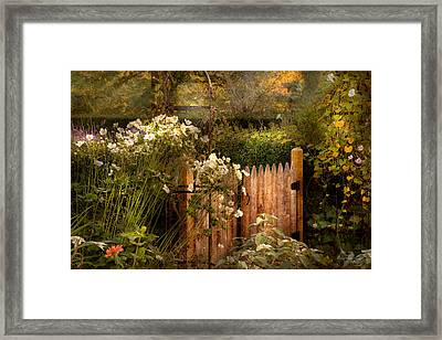 Country - Country Autumn Garden  Framed Print by Mike Savad