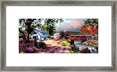 Country Covered Bridge 2 Framed Print by Ron Chambers